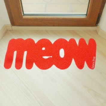 Meow door mat. Cute floor mat for kittens lovers.