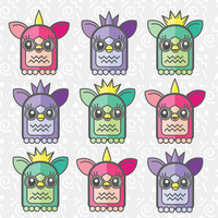 Nineties Furby Pattern Stretched Canvas by chobopop