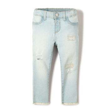Baby And Toddler Girls Destructed Denim Jeans