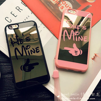 Iphone 6/6s Stylish On Sale Hot Deal Cute Iphone Apple Couple Soft Silicone Mirror Phone Case [8383659783]