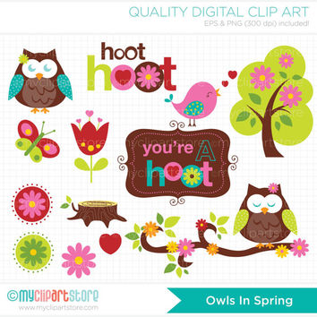 Owls in Spring Clip Art / Digital Clipart - Instant Download