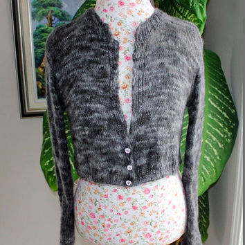 Ready to ship - 100% Angora Rabbit Handmade Knit Charcoal Marbled Grey Bolero, Inspired by Kate Middleton Sweater crop / Will fit S-M even L