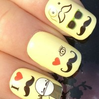Nicedeco - Beautiful & Fun & Colorful & Fashion nail stickers/tattoo/deacl water transfer Decals Cute Moustache Man/I ,Greatly Positive Feedback From Buyer.