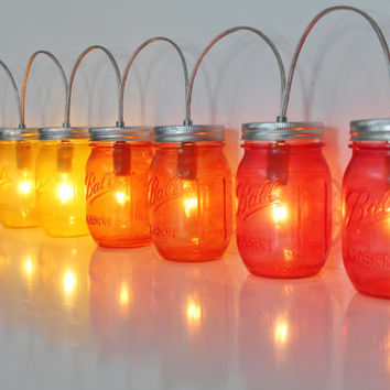 HOMBRE Mason Jar Lamp String Of Lights - BANNER Style Lighting Fixture In Clear, Yellow, Orange, Red Jars - Upcycled Rustic BootsNGus Lamps