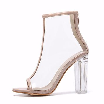 Sexy Kim Kardashian Sandal Women Style PVC Clear Transparent High Heel Sandals Plus S