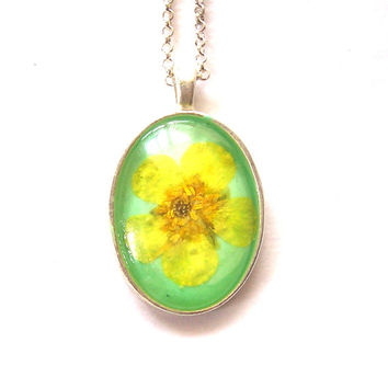 Real Pressed Flower Buttercup Wildflower Pendant Necklace
