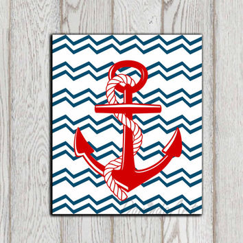 Anchor printable Red anchor print Nautical decor Beach art Red navy blue chevron Bathroom decor Beach house Sea art Ocean INSTANT DOWNLOAD
