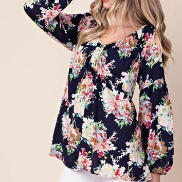Gorgeous Floral Pintuck Tunic