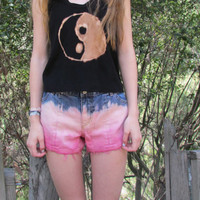 Cool, Cute, Punk, Soft Grunge, Teen, Bright Pink, Bleached Tie Dye Shorts// Hipster, Tumblr, Ombré, Dip Dyed Shorts