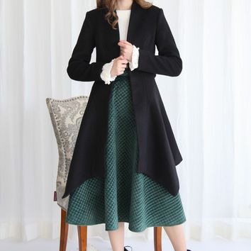 Flare Stylishness Belted Wool-Blend Coat in Black