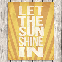 Inspirational Quote Letterpress - Let The Sunshine In Typography - Word Art - Nursery Art - Modern Home Decor - Printable Digital File