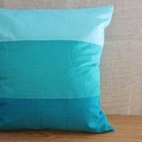 Ombre Pillow Cover in 3 Cabana Stripe Colorblock in Sky Blue, Teal and Ocean--18 x 18 inch square MADE TO ORDER