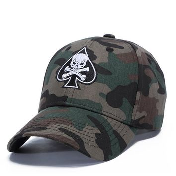 High Quality Unisex Camouflage Outdoor Baseball Cap Skull Embroidery Snapback Fashion Sports Hats