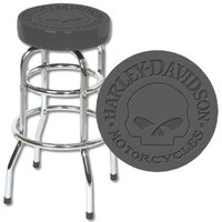 Harley-Davidson® Bar Stool Embossed with Harley® Skull Logo. Premium Quality from H-D®. HDL-12114