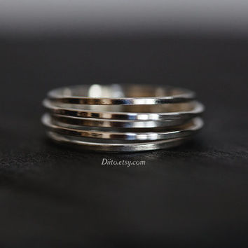 Size 6 , Sterling Silver, Handmade Jewelry, Five Ring Ring, Band, Stacking Ring, Statement Ring, Ready To Ship!