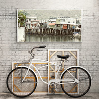 Chinese fishing village,Hong Kong Village,Home Office Art,Home Wall Art,China Wall Art,Seascape Art,China Landscape,Village Photo