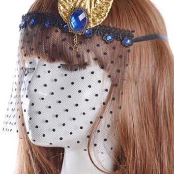 Faux Sapphire Leaf Party Mask Hair Accessory