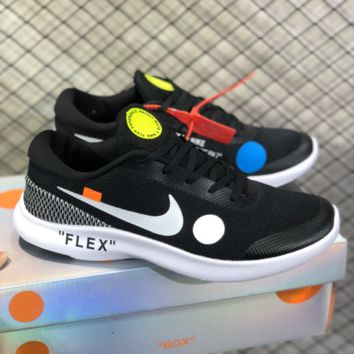 DCCK2 N788 Nike FLEX RN7 Off White Light fashion sports casual Running shoes Black White