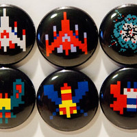 "Set of 6 Galaga 1"" pinback buttons"