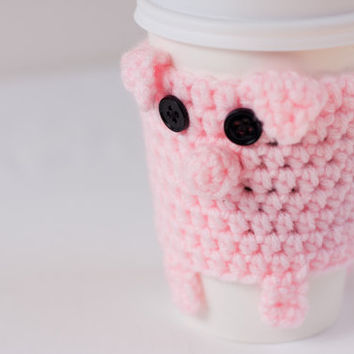 Crocheted Cuddly Pink Pig Coffee Cup Cozy by CuddlefishCrafts