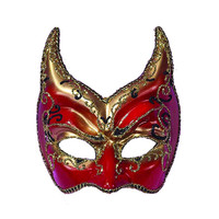 Creepy Scary Costume Ven Mask Red Gold Points