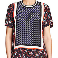 Mother of Pearl - Paget Border-Print Silk Top - Saks Fifth Avenue Mobile