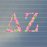 Lilly Pulitzer Inspired Delta Zeta Car Decal | Delta Zeta Car Sticker | Delta Zeta Sorority Decal | Delta Zeta Laptop Decal | Greek | 159