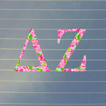 Lilly pulitzer inspired delta zeta car decal delta zeta car st