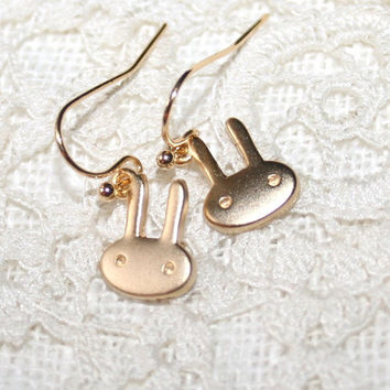 Bunny Earrings, Gold Rabbit Minimalist Earrings, Cute golden Mini Bunny Earrings, Miniature Animal Kawaii Modern Simple Jewelry