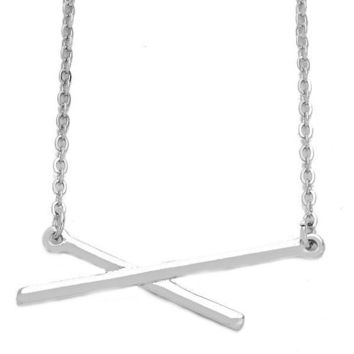 Dainty Thin Criss Cross Silver Bar Pendant Layering Necklace