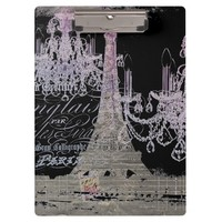 modern girly vintage chandelier paris eiffel tower Clipboard