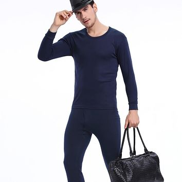 Top Quality Men's Thermal Fleece Underwear Set Solid Tight Top&bottom Hot-dry Technology Surface Man Stretch Thermo Long Johns