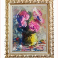 """ITALIAN PAINTING """" ABSTRACT FLOWERS n°31 """" MATERIC COLORS of P.M.ABRANS ITALY"""