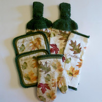 Autumn Leaves Kitchen Set, Hanging Towels, Pot Holders, Oven Mitt, Dish Cloth, Green, Leaves Decor, Multi Fall Colors