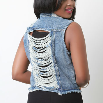 Distressed Sleeveless Slashed Back Denim Vest | UrbanOG