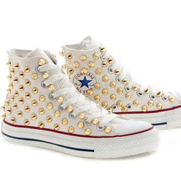 Studded White Converse Gold Studs with converse White by customduo