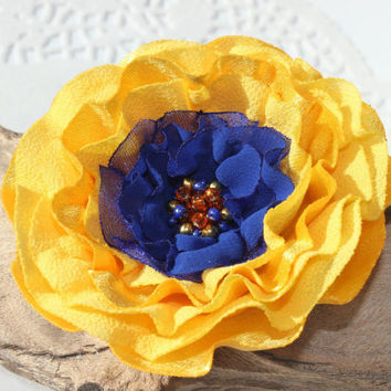 Yellow and Cobalt Blue Flower Pin Or Hair Clip