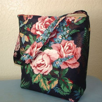 Slouch Shoulder Bag Purse Cottage Roses Chic Navy Blue Purse Bucket Bag