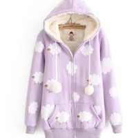FREE Shipping Cloudy Sheeps Hooded Jacket Coat. Four Colors Available from Moooh!!