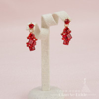 Gorgeous women Clip Earrings red crystal Pendant girl party long Earring Festival Gifts lovely wedding accessories  shali
