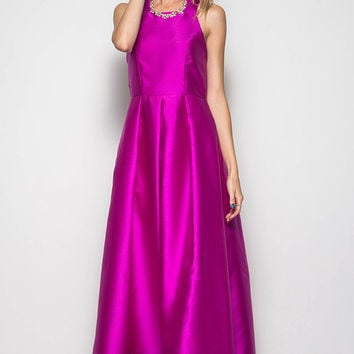 SLEEVELESS FORMAL TAFFETA MAXI DRESS WITH CRISSCROSS BACK