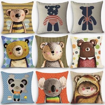 "New Arrival cheap cushions bear Print Home Decorative Cushion Throw Pillow 18"" Vintage Cotton Linen Square Pillows MYJ-A6"