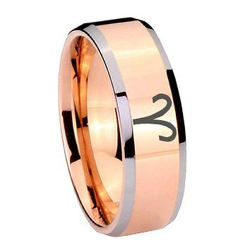 8MM Rose Gold Aries Zodiac Bevel Edges 2 Tone Tungsten laser Engraved Ring