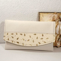 Personalized wedding clutch, Cream clutch for bride, Wedding bag, Evening clutch bag, cream leather purse, gift for bridesmaids, gold,silver