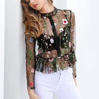 Flower Embroidery See Through Top
