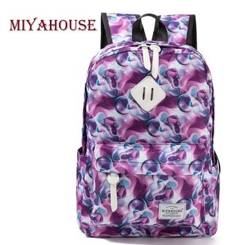 Miyahouse Fashion Canvas Backpack Women College Preppy School Bags For Teenagers Girls Large Capacity Colorful Printed Rucksack