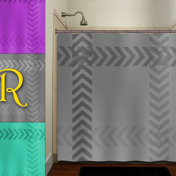 monogrammed frame zigzag gray chevron shower curtain bathroom decor fabric kids bath white black custom duvet cover rug mat window