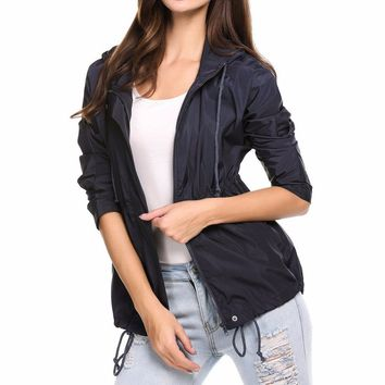 Women's Navy Blue Lightweight Long Sleeve Jacket with Hood Water Resistant