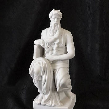 Bisque Moses Figurine, After Michaelangelo Art Sculpture, Vintage Neoclassical White Porcelain Statue, Made in Germany