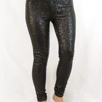 Sequin Leggings: Black
